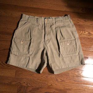 Cabela's 8 Pocket Beige Cargo Shorts SZ 36 Regular